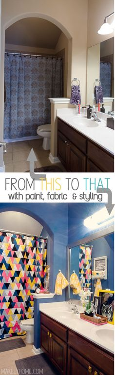 Amazing small kids' bathroom transformation with no renovations - just paint, fabric and fun styling!  Via MakelyHome.com