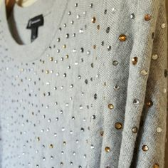 HP INC Embellished Grey Sweater Brand new with tags. No defects or stains or missing embellishments. Embellishments are front and back and on sleeves. Heathered grey color. Cotton/rayon blend  Size Medium  No trades. Negotiate through offer button only. INC International Concepts Sweaters Crew & Scoop Necks