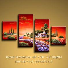 "Beautiful Large 4 Panels Canvas Wall Art Contemporary Landscape 60"" x 38"" #2515"