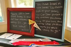 Write Dr. Seuss quotes on framed chalkboards for graduation party decor. let-s-have-a-party