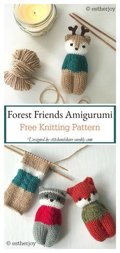 Forest Friends Amigurumi knitting pattern - knitting is as easy as 3 The . Forest Friends Amigurumi knitting pattern - knitting is as easy as 3 Knitting boils down to three essential skills. Knitting Terms, Knitting Patterns Free, Knitting Yarn, Knit Patterns, Free Pattern, Afghan Patterns, Pattern Design, Quick Knitting Projects, Sewing Projects