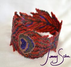 Jenny Schu's Beads, Yarn and Other Sundries: Pheonix Feather (Peacock Feather in Red/Purple)