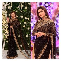 celebrity host Nida yasir is wearing a gorgeous black and gold zaheer abbas saree on her Eid transmission Shadi Dresses, Pakistani Dresses Casual, Pakistani Bridal Dresses, Indian Fashion Dresses, Indian Designer Outfits, Designer Dresses, Fancy Wedding Dresses, Formal Dresses For Weddings, Wedding Outfits