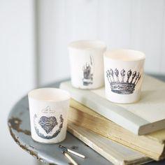 Grey crown tea lights