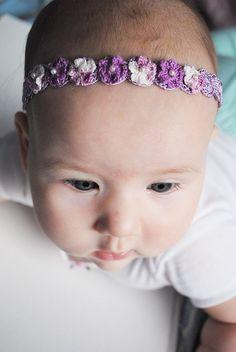 flower hairband, baby photo prop, hair flower, baby hairband, hair accessories, crochet flowers, crochet baby hairband, crochet purple
