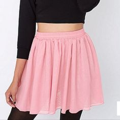 American Apparel shirred waist chiffon skirt Double layer chiffon in BLUSH. There are a few small snags, but they're not visible when worn (second photo). American Apparel Skirts