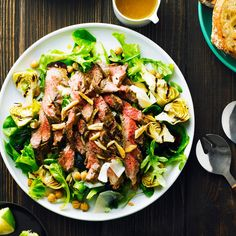 Garlicky Steak Salad with Chickpeas and Artichokes - Main Dish Salads - Sunset