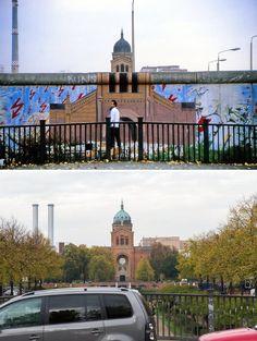 Die Brücke Waldemarstraße 1986 (oben) und heute in Berlin. Die Malerei auf der Mauer zeigt die Sankt-Michael-Kirche am Engelbecken auf der damaligen Westseite der Berliner Mauer.
