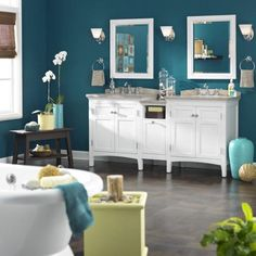 A pop of color on the walls can completely transform your bathroom. lowes