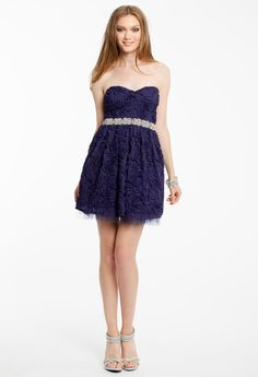 STRAPLESS ROSETTE DRESS #shortdress #homecoming #hoco15 #camillelavie #groupusa #lace