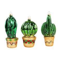 Christmas Cactus Ornaments, Set Of Three