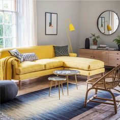 I'm looking for products for our new Annex project and me and Mum have just fallen in love with this sunny yellow sofa from @perchandparrow . Maybe it's because I'm obsessing over anything with a Spring time vibe. The daffs have started sprouting here at the house and I just can't wait for their yellow loveliness to break through. Yellow is the ultimate colour for positive vibes and this new home for my Mum is all about making a fresh start and new beginnings! Thanks for the inspiration…