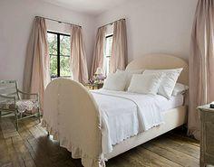 gbd - silk taffeta draperies, slip-covered head/footboard, simple wht linens, wide planked floor