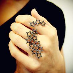 """""""Shooting Stars"""" Black Diamond Two Finger Ring, $3,500"""
