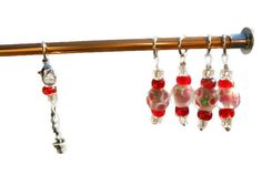 Set of 5 Soft Pink Bead Stitch Markers with Flower Charm #ButterflysPin