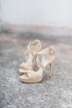 Nude platform wedding shoes | http://burnettsboards.com/2014/01/modernly-vintage/
