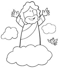 Jesus Coloring Pages, Coloring Pages For Kids, Coloring Books, Bible Story Crafts, Bible Stories, Ascension Of Jesus, Sunday School Coloring Pages, Bible Activities For Kids, Religious Education