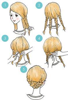 ①両サイドの髪を三つ編みにする ②2本の三つ編みを、ゴムで結ぶ ③すべての髪をまとめて、ポニーテールを作る ④ポニーテールから一部分だけ取った毛束を、ゴムが見えないように根本にくるくる巻きつけて、ピンで固定したら完成♪