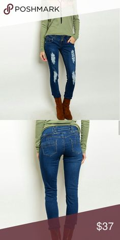 Distressed skinny jean Great skinny fit with factory distressing. Medium to dark wash. Cute detailing in back make these unique and set them apart. 88% cotton/9% poly/3% spandex. Have a lot of stretch! Run in odd sizes, rather than even. If you order a 10, you will receive a 9. 8, you will get a 7, 6, you will get a 5, etc. They run a tad bit large, so a 5 will fit like a 6 anyway. Questions, ask! ThreadzWear  Jeans Skinny