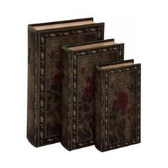 Woodland 50256 Decorative Wood Fabric Book Box Set of Three Depicting the Portrait of a Beautiful Rose