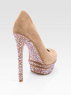 Brian Atwood - Crystal-Coated Suede Platform Pumps = Get in my closet!