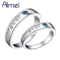 Special price Almei USA 2 Pcs Wedding Ring Silver CZ Zircon Rings For Women Men Jewelry Love Pair Rings Crystal Party Anillos 2017 Gifts J272 just only $5.38 with free shipping worldwide  #weddingengagementjewelry Plese click on picture to see our special price for you