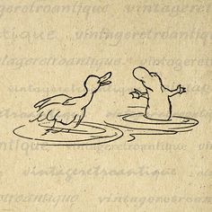 Digital Image Duck and Platypus Download by VintageRetroAntique