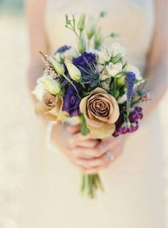 Hand Tied Bridal Bouquet: Champagne Roses, Blue Veronica, Blue Eryngium Thistle, Purple Lisianthus + Other Misc. Coordinating Florals