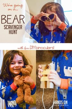 Go on a bear hunt scavenger hunt based on a perennial children's book classic! It's super simple to do inside or outdoors! Indoor Activities For Toddlers, Motor Activities, Sensory Activities, Hands On Activities, Outdoor Scavenger Hunts, Happy Mom, Happy Kids, Toddler Preschool, Preschool Books