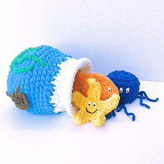 Babies and toddlers will love this fun 'stuff and spill' toy! Made with Bernat Blanket yarn-it is super soft, super plushy and super cute! Blub Blub!