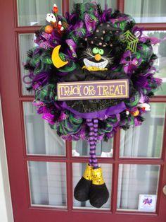 Halloween Black Cat Purple and Black Deco Mesh by CrazyboutDeco