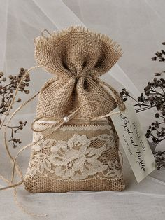 Lace Rustic Favor Bag Rustic Wedding Bag by 4LOVEPolkaDots, $1.70