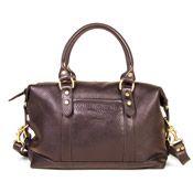 Satchel bag style handbag of soft sable leather