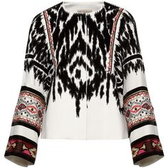 Emilio Pucci Embellished flocked twill jacket ($3,918) ❤ liked on Polyvore featuring outerwear, jackets, emilio pucci, tops, white, beaded jacket, twill jacket, tailored jacket, embellished jacket and emilio pucci jacket