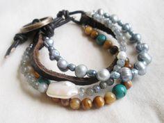 Freshwater pearl, turquoise, labradorite and leather gemstone bracelet.