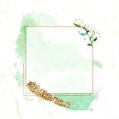 Gold square frame on a green watercolor background vector   premium image by rawpixel.com / Adj Flower Background Wallpaper, Framed Wallpaper, Flower Backgrounds, Wallpaper Backgrounds, Iphone Wallpaper, Watercolor Wallpaper, Green Watercolor, Watercolor Background, Watercolor Flowers