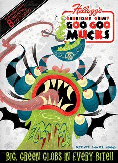 Goo Goo Mucks by Ryan Hungerford Graphic Design Illustration, Illustration Art, Creepy, Scary, Cereal Killer, Halloween Signs, Halloween Ideas, Classic Monsters, Z Arts
