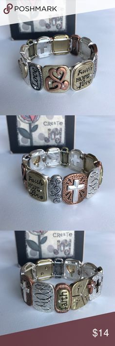 Faith Hope Love bracelet This beautiful bracelet has faith, hope, and love beads with crosses, hearts and a peace dove. The bracelet stretches when you put it over your wrist and retracts once it's on your arm. Jewelry Bracelets