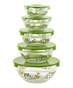 Another great find on #zulily! Green Owl 10-Piece Storage Bowl Set by Micro World #zulilyfinds