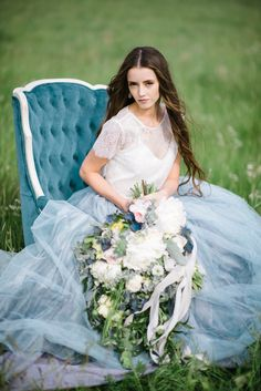 mae wedding gown chantel lauren natural dye hand painted bride blue dress