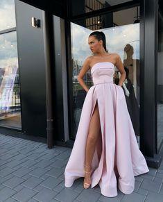a0d37c2f98a Strapless Bodice Corset Long Satin Split Evening Dresses on Luulla