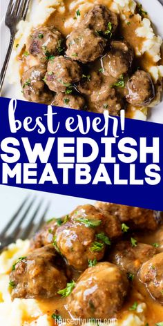Juicy, tender meatballs made with warm spices, simmered in a creamy gravy. Serve with creamy mashed potatoes or over noodles for a perfect comfort meal. Vegetarian Recipes, Cooking Recipes, Vegetarian Grilling, Healthy Grilling, Swedish Meatball Recipes, Meatball Meals, Mashed Potato Recipes, Meals With Mashed Potatoes, How To Cook Meatballs
