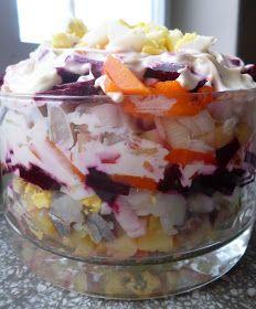 Podróże na języku: Rosyjska sałatka śledziowa Pudding, Desserts, Food, Tailgate Desserts, Deserts, Custard Pudding, Essen, Puddings, Postres