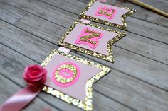 Shabby Chic Pink and Gold Sparkle Flag Cake Bunting Banner with Rose Embellishment