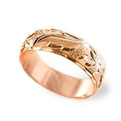 14K Rose Gold Hawaiian Heirloom Plumeria Ring - Hawaiian Heirloom Jewelry - Collections