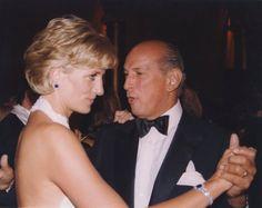 September 25, 1996: Princess Diana dancing with Oscar de la Renta at a Gala in Washington, D.C.