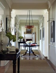 Sandra Nunnerley Paired An Alabaster Light Fixture With A Regency Pedestal  Table At A House In Maryland.