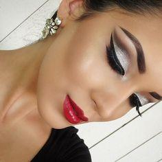 Dramatic Silver Glitter Eye Makeup - Red Lips