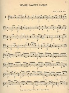 """Knick of Time: Antique Graphics Wednesday - 1885 Sheet Music, """"Home Sweet Home"""""""