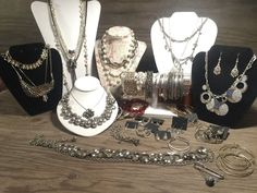 Vintage Jewelry Lot, 45 PC Silver Tone Jewelry Grabbag Vintage Silver tn Fashion #Mixed
